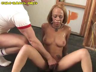 Blackguardly bitch is in a gangbang in blanched cocks and gets bukkake