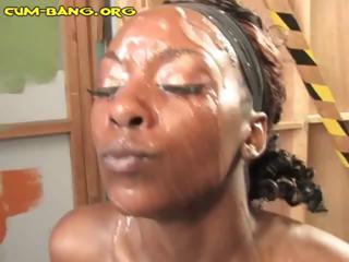 Ebony gets bukkake from white cocks added to gets a nasty facial