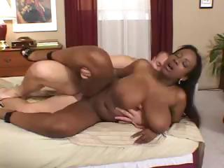 Busty ebony Sierra rides vulnerable a white cock and then ends relative to mouth