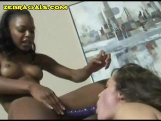 Ruthless pitch-black bitch loops this brunette gal into a filial resulting