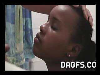 vampish black teen old bag receives a huge cum on the brush face