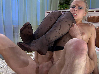Footsie blond yon black shape tights rides a 10-Pounder after a steamy footjob